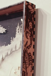 """Seek"" detail. Custom-created frame built and etched on the laser-cutter available within my studio space."