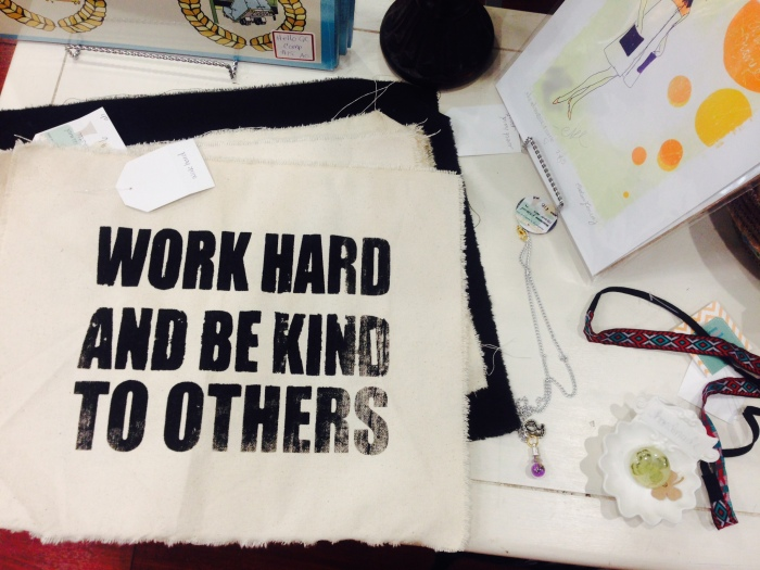 """Work Hard and Be Kind To Others"" screenprint canvas and cards by Adventure Orange. Lifebulb terrarium necklace by Studio 2."